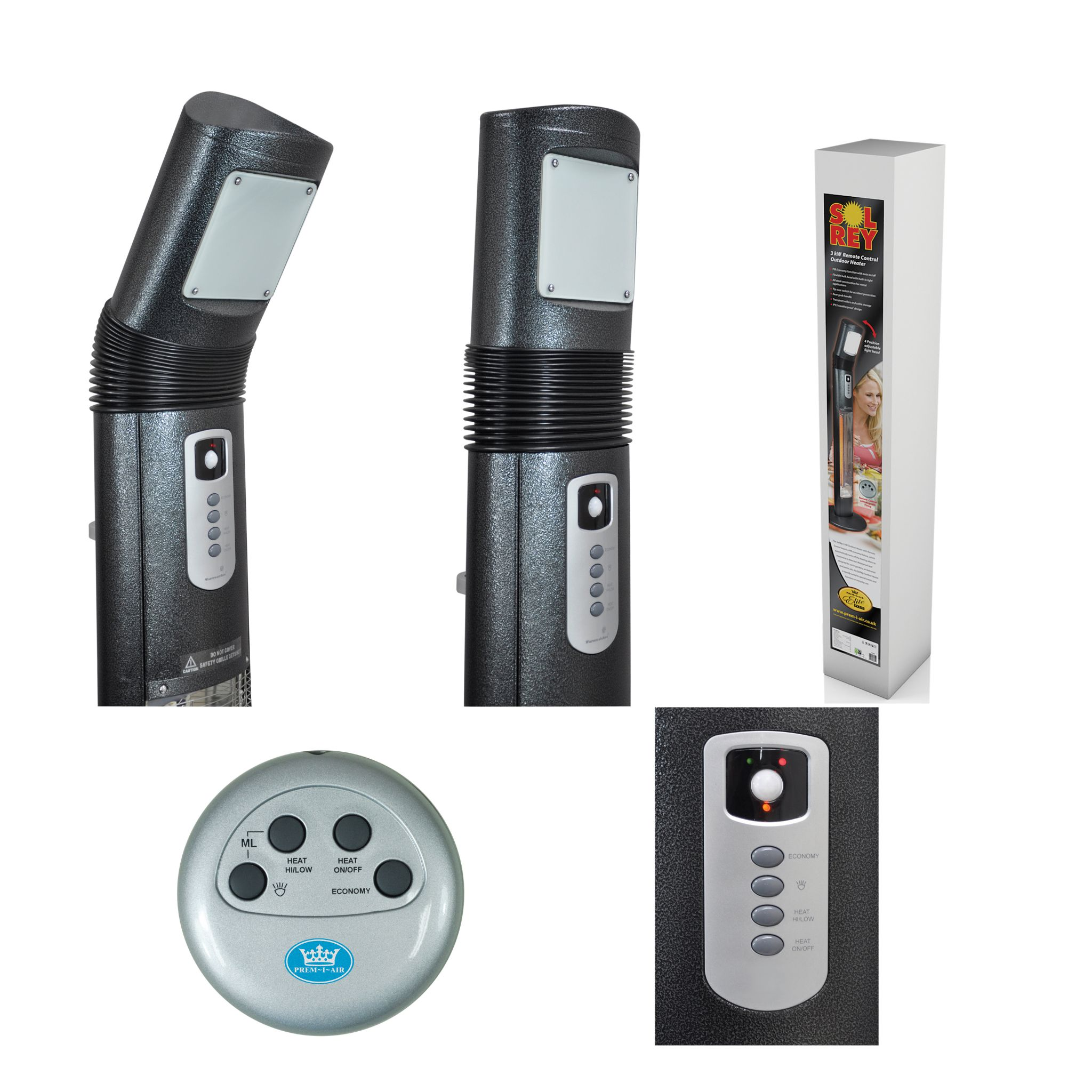 Sol Rey Carbon Fibre Electric Patio Heater With Remote Control 3kw Vehicles 1500w 240v Ceramic Element 12000 Btu